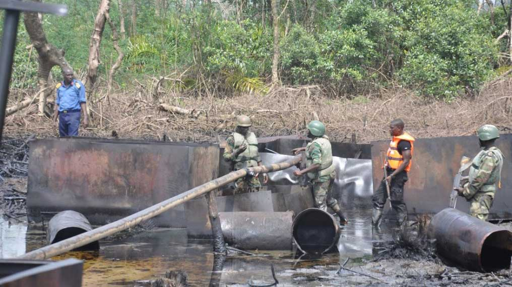 Image result for Navy Destroys 637 Illegal Refineries